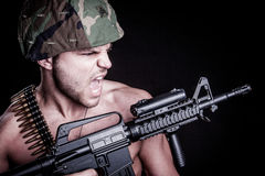 Soldier with Gun stock photo