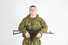 A soldier with gun Royalty Free Stock Photos