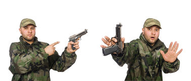 The soldier with gun isolated on the white Stock Photo