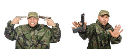 The soldier with gun isolated on the white Stock Photography