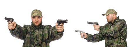The soldier with gun isolated on the white Royalty Free Stock Images