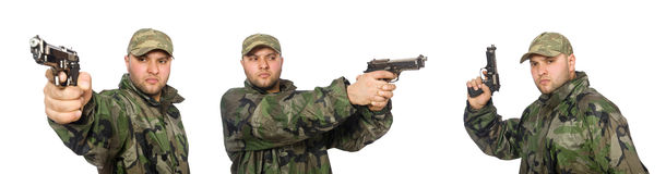 The soldier with gun isolated on the white Stock Images