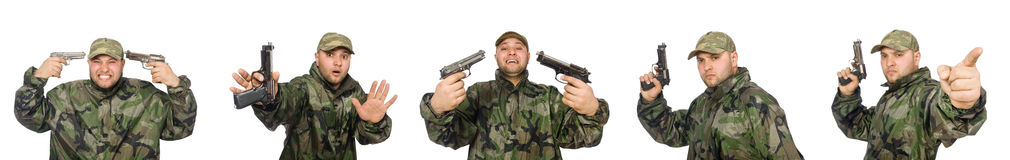 Soldier with gun isolated on the white Stock Photo