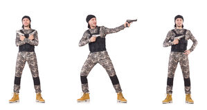The soldier with gun isolated on white Stock Image