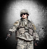 Soldier with gun o Royalty Free Stock Image