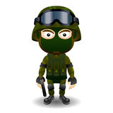 Soldier gun pistol military character combat black mask male Royalty Free Stock Image
