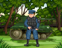 Soldier with gun by the tank. Illustration Stock Photography