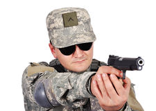 Soldier with gun Stock Image