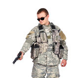 Soldier with gun Stock Photography