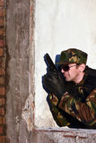 Soldier with gun Royalty Free Stock Photography