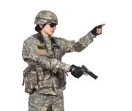 Soldier with gun Royalty Free Stock Photo