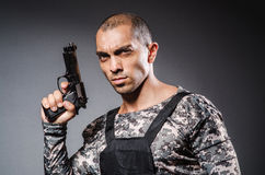 Soldier with guns Stock Image
