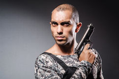Soldier with guns Royalty Free Stock Photos