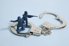Soldier and handcuffs Royalty Free Stock Photography