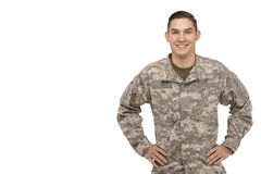 Soldier with hands on hips against white Royalty Free Stock Images