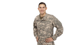 Soldier with hands on hips Royalty Free Stock Photos