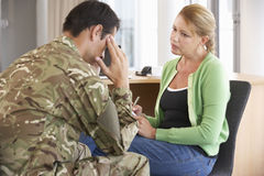 Soldier Having Counselling Session Stock Image