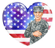 Soldier and heart US flag. USA Soldier Illustration of a handsome happy American soldier in front of a US heart flag with party balloons. Great for 4th July Royalty Free Stock Photo