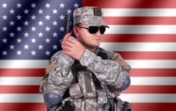 Soldier with his gun Royalty Free Stock Photography