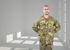soldier with his hands on back. Concrete room with windows royalty free illustration