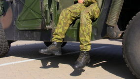 Soldier and his military vehicle stock footage