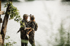 Soldier and his wife at the battlefield royalty free stock images