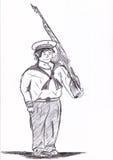 Soldier holding gun  Stock Image