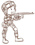 A soldier holding a gun Royalty Free Stock Photos