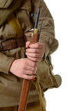 A soldier holding his rifle Stock Images