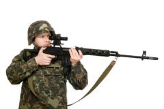 Soldier holding a rifle Royalty Free Stock Image