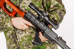 Soldier holding a russian sniper rifle. Training of soldiers fir Royalty Free Stock Images