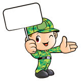 The Soldier Holding the Signs Stock Photo