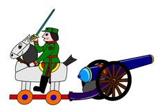 The soldier, horse and cannon Stock Images