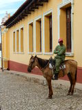 SOLDIER ON A HORSE, TRINIDAD,CUBA Royalty Free Stock Photography