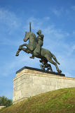 Soldier on horseback. A fragment of a Victory Monument in Veliky Novgorod Stock Image