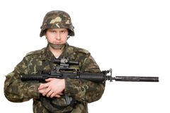 Soldier hugging m16 Stock Photos