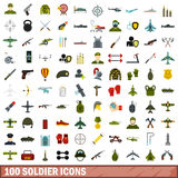 100 soldier icons set, flat style. 100 soldier icons set in flat style for any design vector illustration Stock Images