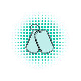 Soldier identity tag comics icon. On a white background Royalty Free Stock Images
