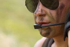 Soldier In A Headset Talking Royalty Free Stock Images