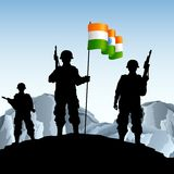 Soldier with Indian Flag. Illustration of soldier standing on hill with Indian flag Royalty Free Stock Photo