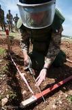Soldier of italian army demining activity. Italian soldier of ITALBATT in Lebanon as UN peacekeeper near the Blue Line in lebanon on demining activity Royalty Free Stock Image