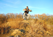 Soldier jump Royalty Free Stock Photos