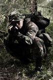Soldier in the jungle. Soldier on mission in the jungle Stock Images