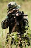 Soldier in the jungle. Soldier on mission in the jungle Stock Photos