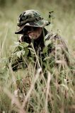 Soldier in the jungle. Soldier on mission in the jungle Stock Photography