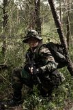 Soldier in the jungle stock photo