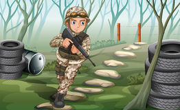 A soldier in the jungle. Illustration of a soldier in the jungle Royalty Free Stock Photo