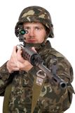 Soldier keeping a rifle Royalty Free Stock Photography