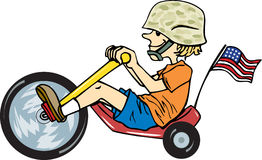 Soldier Kid. Child riding toy bike with soldier helmet and American flag vector illustration