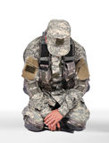 Soldier kneeling Royalty Free Stock Photo